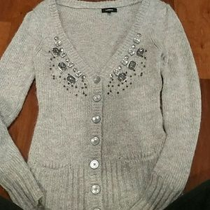 Gray shimmery Express cardigan